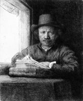 Rembrandt Drawing at a Window by Rembrandt