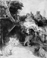 St Jerome Reading in an Italian Landscape by Rembrandt