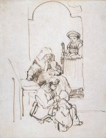 Three Women And a Child at The Door by Rembrandt