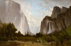 Yosemite Valley Bridal Veil Falls And El Capitan by Thomas Hill