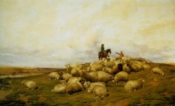A Shepherd with His Flock by Thomas Sidney Cooper