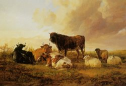 Cattle And Sheep in a Field by Thomas Sidney Cooper