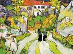 Village Street And Stairs in Auvers with Figures by Vincent van Gogh