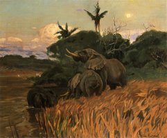 A Herd of Elephants by Moonlight by Wilhelm Kuhnert