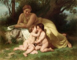 Young Woman Contemplating Two Embracing Children by William Adolphe Bouguereau