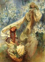 Madonna of The Lilies 1905 by Alphonse Marie Mucha