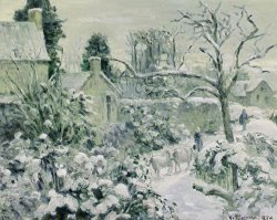 Effect of Snow with Cows at Montfoucault by Camille Pissarro