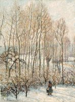 Morning Sunlight on The Snow, Eragny Sur Epte by Camille Pissarro