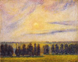 Sunset at Eragny by Camille Pissarro