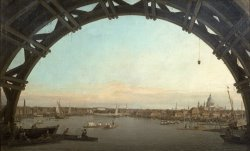 London seen through an arch of Westminster Bridge by Canaletto