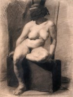 Study of a Seated Nude Woman Wearing a Mask by Eadweard J. Muybridge