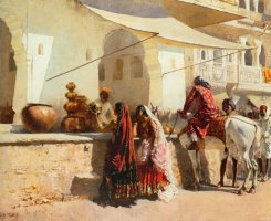 A Street Market Scene, India by Edwin Lord Weeks