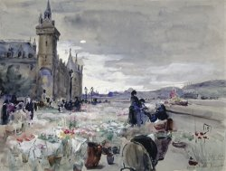 Flower Market at Notre Dame by Elizabeth Nourse