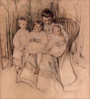 Mother And Three Children by Elizabeth Nourse