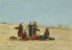 Women on The Beach at Berck by Eugene Boudin