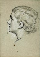 Study of a Woman's Head for The Painting 'a Noble Lady of Venice' by Frederic Leighton
