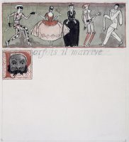 Parfois Il M Arrive Ink And W C on Paper by Georges Barbier