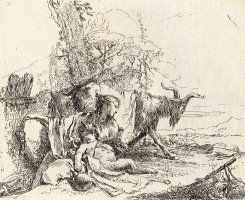 A Nymph with a Small Satyr And Two Goats, From Vari Capricci by Giovanni Battista Tiepolo