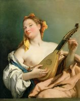 Girl with a Mandolin by Giovanni Battista Tiepolo