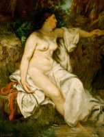 Bather Sleeping By A Brook by Gustave Courbet