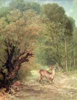 The Hunted Roe Deer on The Alert, Spring by Gustave Courbet