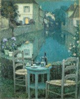 Small Table in Evening Dusk by Henri Le Sidaner