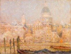 St. Paul's From The River Morning Sun in Winter by Henri Le Sidaner