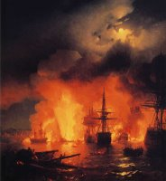 Battle of Cesme at Night by Ivan Constantinovich Aivazovsky