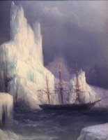 Icebergs in The Atlantic Detail by Ivan Constantinovich Aivazovsky
