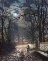 A Moonlit Lane by John Atkinson Grimshaw