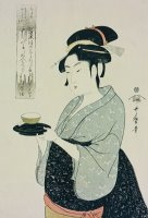 A Half Length Portrait Of Naniwaya Okita by Kitagawa Utamaro