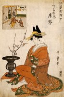 The Courtesan Karakoto of The Chojiya Seated by an Arrangement of Plum Flowers by Kitagawa Utamaro