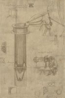 Bellows Perspectograph With Man Examining Inside From Atlantic Codex by Leonardo da Vinci
