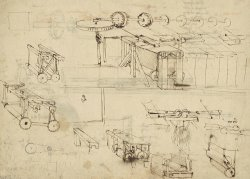 Shearing Machine For Fabrics And Its Components From Atlantic Codex by Leonardo da Vinci