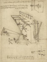 Siege Machine In Defense Of Fortification With Details Of Machine From Atlantic Codex by Leonardo da Vinci