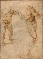 Two Nude Studies of a Man Storming Forward And Another Turning to The Right by Michelangelo Buonarroti