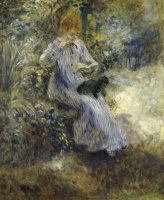 Woman And Black Dog by Pierre Auguste Renoir