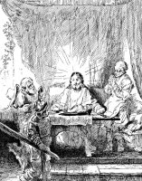 Rembrandt Etching Supper At Emmaus by Rembrandt