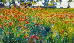 Poppies in France by Robert William Vonnoh