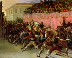 The Riderless Racers At Rome by Theodore Gericault