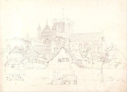Winchester Cathedral, Hampshire, From The North East by Thomas Girtin