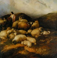 Peasants And Sheep by Thomas Sidney Cooper