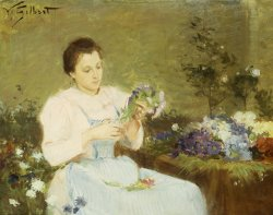 Arranging Flowers For A Spring Bouquet by Victor Gabriel Gilbert