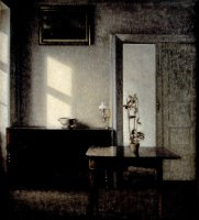 Interior with Potted Plant on Card Table, Bredgade 25 by Vilhelm Hammershoi